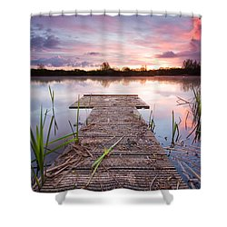 Shinewater Lake Sunrise Shower Curtain