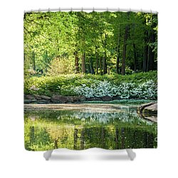 Shining Morning At The Pond Shower Curtain