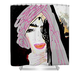 Shower Curtain featuring the mixed media Shining Star by Ann Calvo
