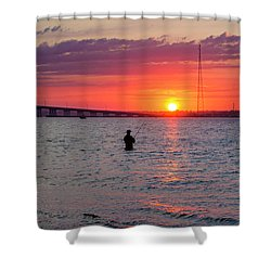 Shinnecock Fisherman At Sunset Shower Curtain