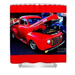 Shiny Red Ford Truck Shower Curtain by Natalie Ortiz