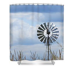 Shiny Windmill Shower Curtain by Jeanette Oberholtzer