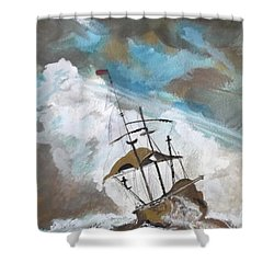 Ship In Need Shower Curtain by Carole Robins