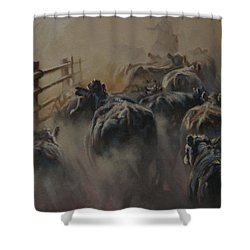 Shipping Dust Shower Curtain by Mia DeLode