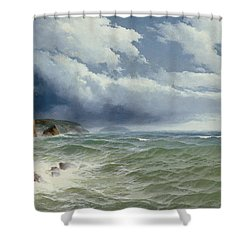 Shipping In Open Seas Shower Curtain by David James