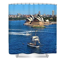 Ships And Boats Passing Opera House Shower Curtain by Kaye Menner