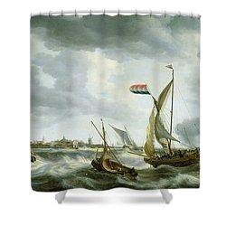 Ships At Sea  Shower Curtain by Bonaventura Peeters
