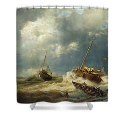 Ships In A Storm On The Dutch Coast Shower Curtain by Andreas Achenbach