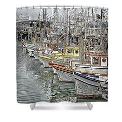 Shower Curtain featuring the photograph Ships In The Harbor by Marie Leslie