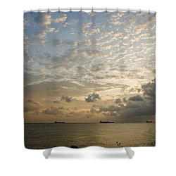 Ships In The Ship Channel.  Shower Curtain