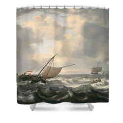Ships On A Choppy Sea Shower Curtain by Hendrik van Anthonissen