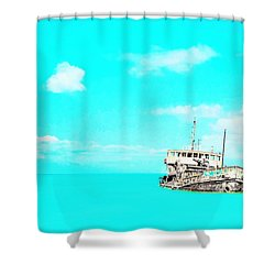 Shipwreck In Blue Shower Curtain