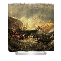 Shower Curtain featuring the painting Shipwreck Of The Minotaur by J M William Turner
