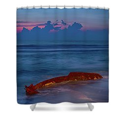 Shipwreck On The Outer Banks The End Shower Curtain by Dan Carmichael