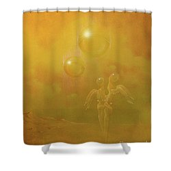 Shower Curtain featuring the painting Shipwrecked Lovers by Alexa Szlavics
