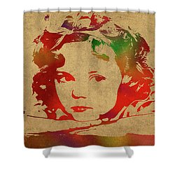Shirley Temple Watercolor Portrait Shower Curtain