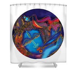Shiva Blowing The Horn Shower Curtain