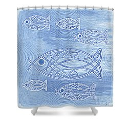 Shoal Of Fish Abstract Shower Curtain