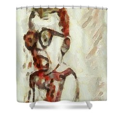Shocked Scared Screaming Boy With Curly Red Hair In Glasses And Overalls In Acrylic Paint As A Loose Shower Curtain by MendyZ