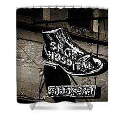 Shoe Hospital Shower Curtain by Phillip Burrow