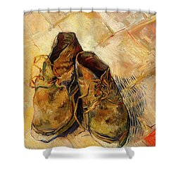 Shower Curtain featuring the painting Shoes                                   by Vincent van Gogh