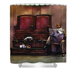 Shoes - Lee's Shoe Shine Stand Shower Curtain by Mike Savad