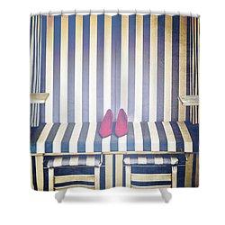 Shoes In A Beach Chair Shower Curtain by Joana Kruse