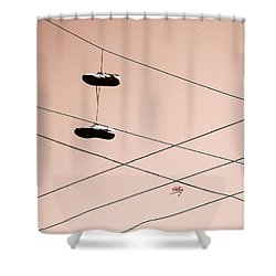 Shower Curtain featuring the photograph Shoes On A Wire by Linda Hollis