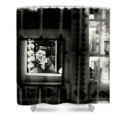 Shower Curtain featuring the photograph Shopkeeper At Night by John Williams