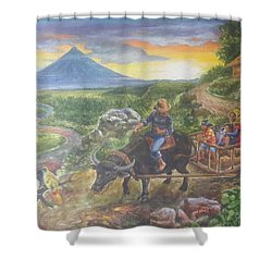 Shopping Family In Mall Shower Curtain by Manuel Cadag