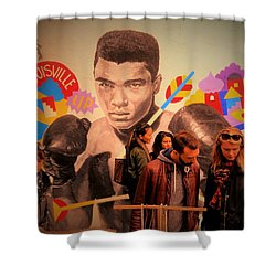 Shopping In Brooklyn With Mohamed Ali Shower Curtain by Funkpix Photo Hunter