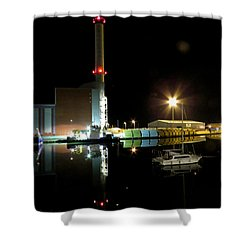 Shoreham Power Station Night Reflection 2 Shower Curtain