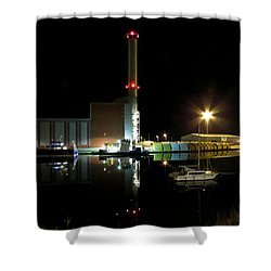 Shoreham Power Station Night Reflection Shower Curtain