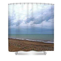 Shower Curtain featuring the photograph Shoreham Shoreline by Anne Kotan