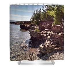 Shoreline In The Upper Michigan Shower Curtain