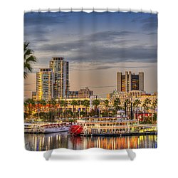 Shoreline Village Rainbow Harbor Marina Shower Curtain