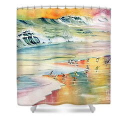 Shoreline Watercolor Shower Curtain