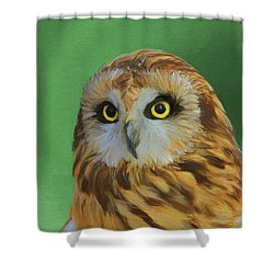 Short Eared Owl On Green Shower Curtain by Dan Sproul