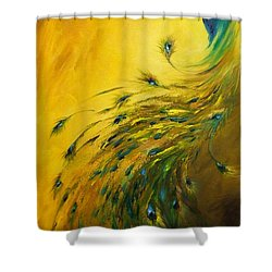 Show Off 1 Vertical Peacock Shower Curtain by Dina Dargo