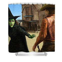 Shower Curtain featuring the painting Showdown by James W Johnson