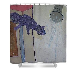 Shower Cat Shower Curtain by AJ Brown