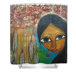 Shower Curtain featuring the mixed media Shower Of Roses by Prerna Poojara