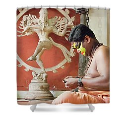 Kathakali Make-up Shower Curtain by Marion Galt