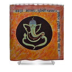 Shower Curtain featuring the painting Shri Ganeshay Namah by Sonali Gangane