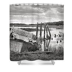 Shrimp Boat Graveyard Shower Curtain by Scott Hansen