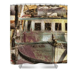 Shrimp Boat Midnight Blues Shower Curtain