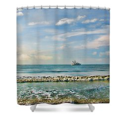 Shower Curtain featuring the photograph Shrimp Boat Off Kiawah by Amy Tyler