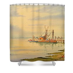 Shower Curtain featuring the painting Shrimp Boat Sunset by Bill Holkham