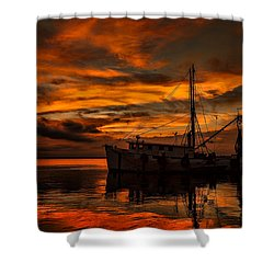 Shrimp Boat Sunset Shower Curtain