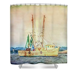 Shower Curtain featuring the photograph Shrimp Boat - The Brande Ray by Kerri Farley